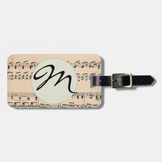 Monogram Sheet Music Score Black and White Pattern Luggage Tag