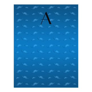 "Monogram shiny blue mustache pattern 8.5"" x 11"" flyer"