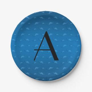 Monogram shiny blue mustache pattern paper plate