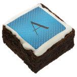Monogram shiny blue polka dots brownie