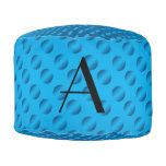 Monogram shiny blue polka dots round pouf