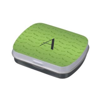 Monogram shiny green mustache pattern jelly belly tin