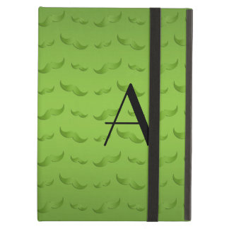 Monogram shiny green mustache pattern cover for iPad air