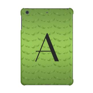 Monogram shiny green mustache pattern iPad mini retina cover