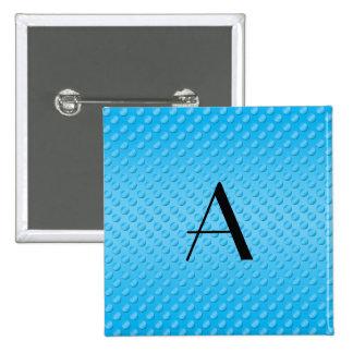 Monogram shiny light blue polka dots pinback button