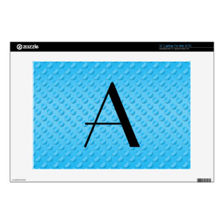 Monogram shiny light blue polka dots laptop decals