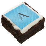 Monogram shiny light blue polka dots square brownie