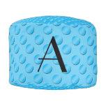 Monogram shiny light blue polka dots round pouf