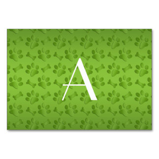Monogram shiny light green dog paw prints table card