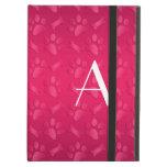 Monogram shiny magenta pink dog paw prints iPad folio case