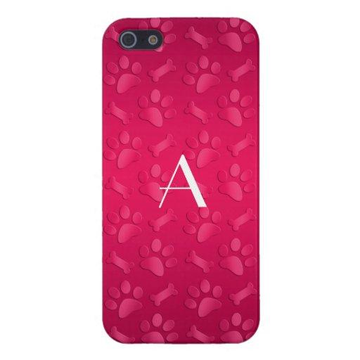 Monogram shiny magenta pink dog paw prints iPhone 5/5S cases