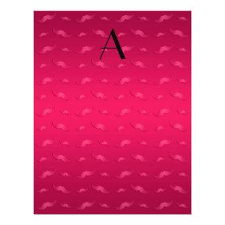 "Monogram shiny magenta pink mustache pattern 8.5"" x 11"" flyer"