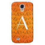 Monogram shiny orange dog paw prints samsung galaxy s4 cases