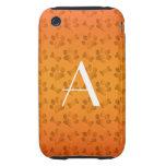 Monogram shiny orange dog paw prints iPhone 3 tough cases