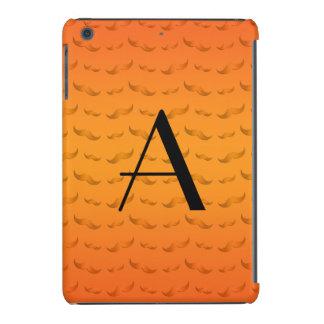 Monogram shiny orange mustache pattern iPad mini retina case