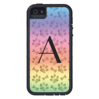 Monogram shiny pastel rainbow dog paw prints iPhone 5 cases