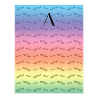 "Monogram shiny pastel rainbow mustache pattern 8.5"" x 11"" flyer"