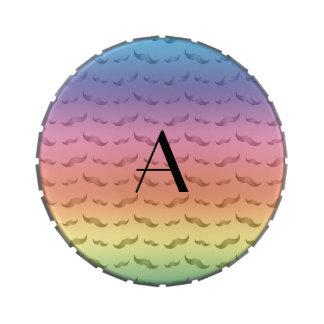 Monogram shiny pastel rainbow mustache pattern jelly belly candy tins