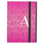 Monogram shiny pink dog paw prints iPad cover