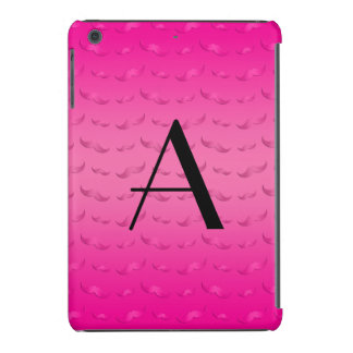 Monogram shiny pink mustache pattern iPad mini retina cases
