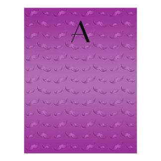 "Monogram shiny purple mustache pattern 8.5"" x 11"" flyer"