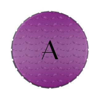 Monogram shiny purple mustache pattern jelly belly tins