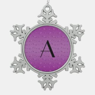 Monogram shiny purple mustache pattern ornament