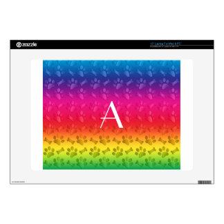 Monogram shiny rainbow dog paw prints laptop skins