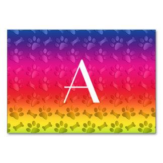 Monogram shiny rainbow dog paw prints table card