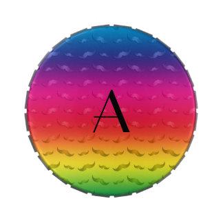 Monogram shiny rainbow mustache pattern jelly belly tin