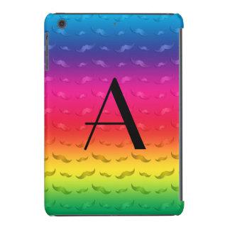 Monogram shiny rainbow mustache pattern iPad mini retina case