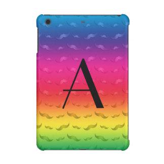 Monogram shiny rainbow mustache pattern iPad mini retina covers