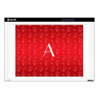 Monogram shiny red dog paw prints laptop skin