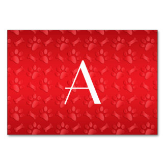 Monogram shiny red dog paw prints table cards
