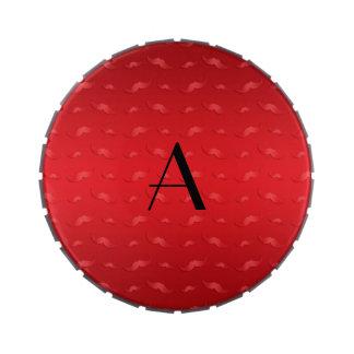Monogram shiny red mustache pattern jelly belly tin