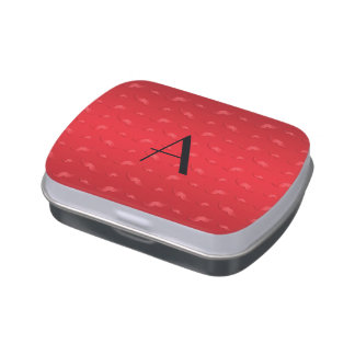 Monogram shiny red mustache pattern jelly belly candy tin