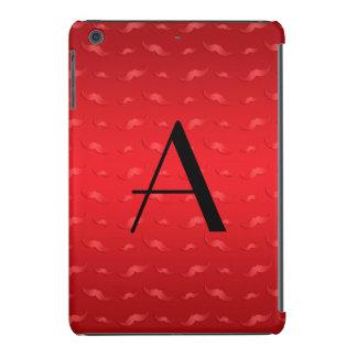 Monogram shiny red mustache pattern iPad mini cases