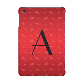 Monogram shiny red mustache pattern iPad mini retina cases