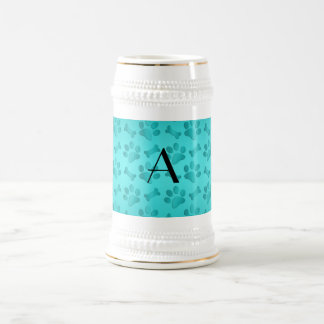 Monogram shiny turquoise dog paw prints coffee mugs