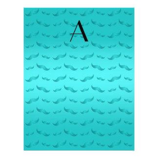"Monogram shiny turquoise mustache pattern 8.5"" x 11"" flyer"