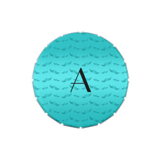 Monogram shiny turquoise mustache pattern jelly belly tins