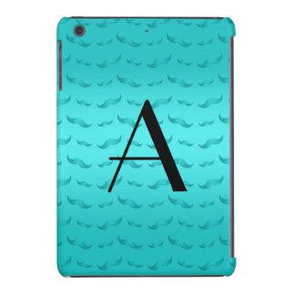 Monogram shiny turquoise mustache pattern iPad mini case