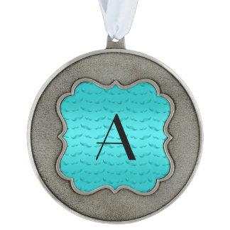 Monogram shiny turquoise mustache pattern scalloped pewter christmas ornament