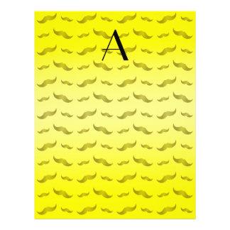 "Monogram shiny yellow mustache pattern 8.5"" x 11"" flyer"