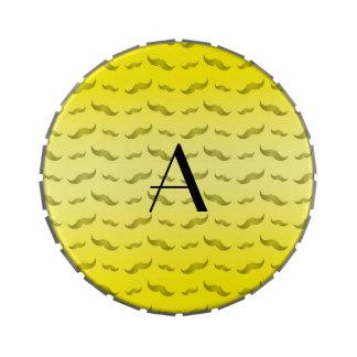 Monogram shiny yellow mustache pattern candy tin