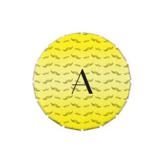 Monogram shiny yellow mustache pattern jelly belly tin