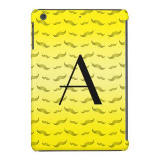 Monogram shiny yellow mustache pattern iPad mini covers
