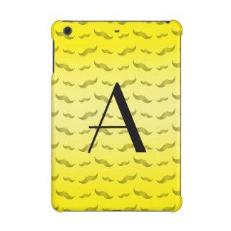 Monogram shiny yellow mustache pattern iPad mini retina covers