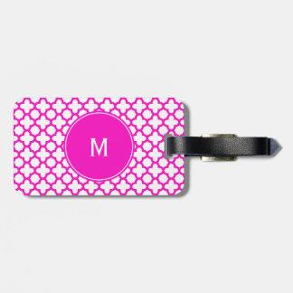 Monogram Shocking Pink Quatrefoil Pattern Bag Tag