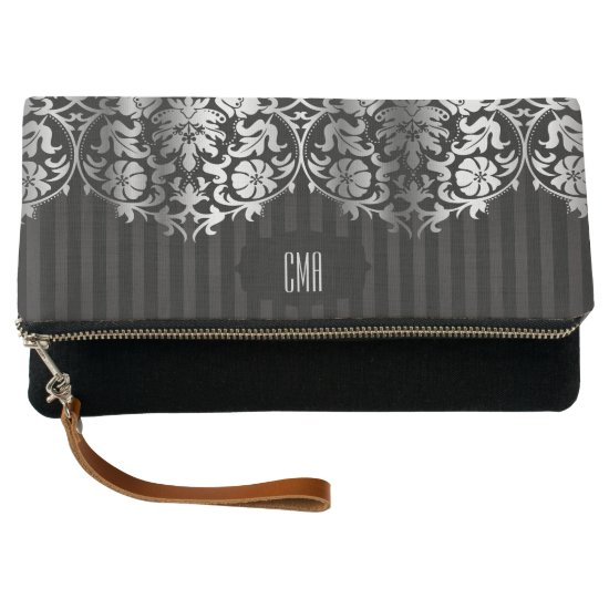Monogram Silver & Black Damask Clutch